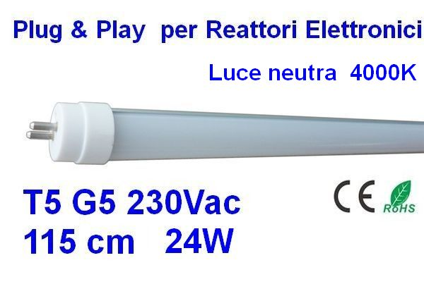 TUBO LED T5 115 cm Plug & Play luce neutra 4000 K